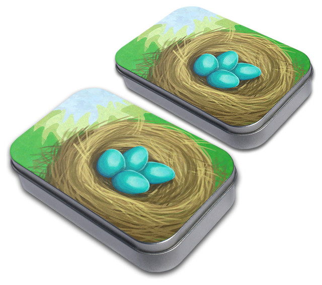 Robins Nest with Eggs Tin Set contemporary-decorative-boxes