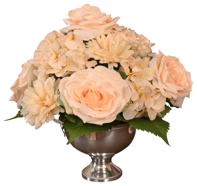 Rose And Hydrangea In Silver Vase Victorian Artificial Flower