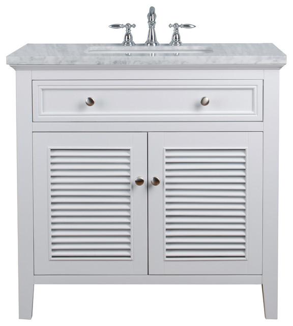 "White Single Vanity Cabinet With Shutter Double Doors Single Bathroom Sink, 36"""