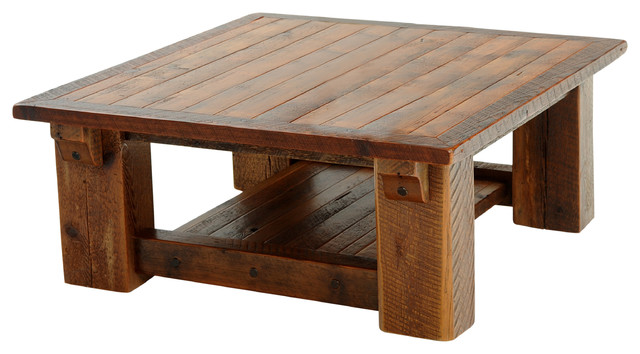 Barnwood Coffee Table With Shelf Rustic Coffee Tables By