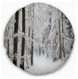 Designart CU14834-16-16-C Dense Winter Lane Forest Round Cushion Cover for Living Room Insert Printed On Both Side Sofa Throw Pillow 16