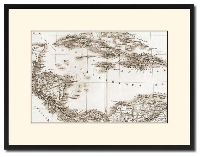 Caribbean, Cuba, Jamaica Old Sepia Map Print On Canvas With Frame ...