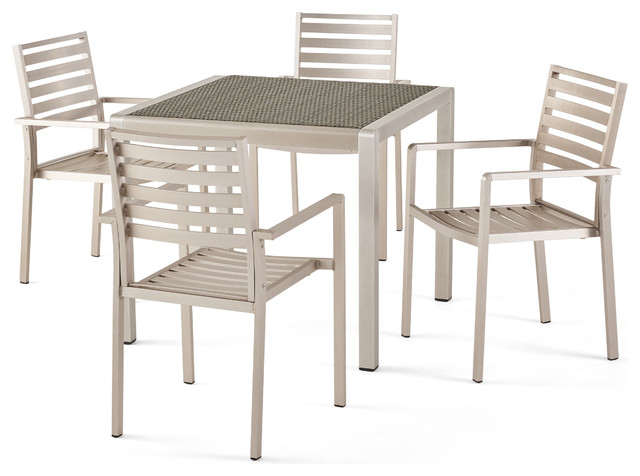 Abbott Outdoor 4 Seater Aluminum Dining Set With Faux Wood ...