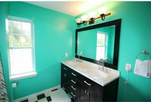 Help me find paint color for black white bathroom for Help me design my bathroom