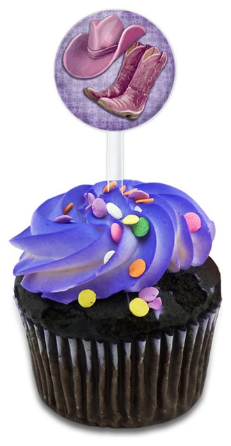 Cowgirl Hat And Boots Country Cupcake Toppers Picks Set.