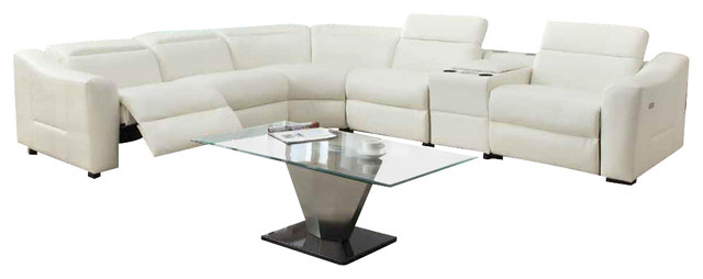 Leather Reclining Sectional Sofa Off White Modern
