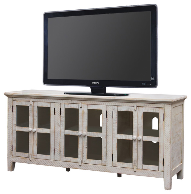 "Milos 70"" Disstressed Tv Stand, Antique White."