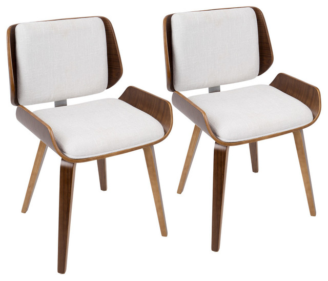 Magnificent Santi Mid Century Modern Diningchair In Walnut With Light Gray Fabric Set Of 2 Ncnpc Chair Design For Home Ncnpcorg