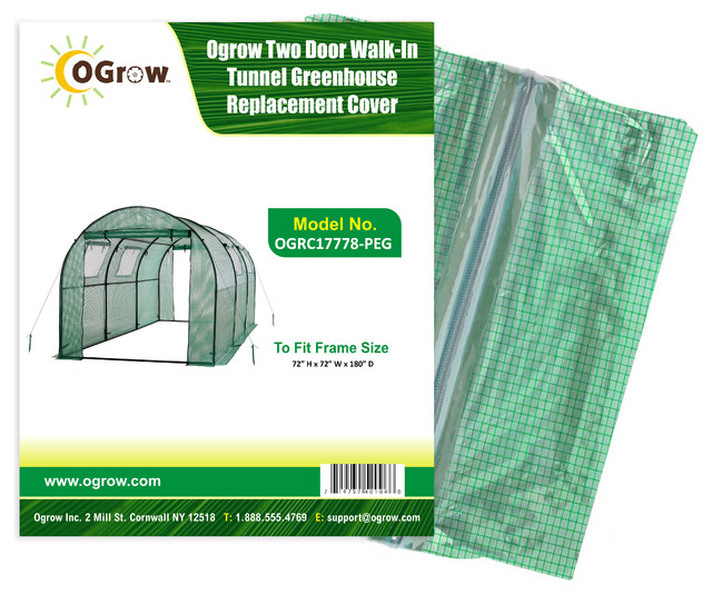 Tunnel Greenhouse Replacement Cover-Fit Frame, 15&x27;x6&x27;x6&x27;, Green.