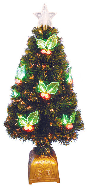 Pre Lit LED Color Changing Fiber Optic Christmas Tree With Holly  - 36 Fiber Optic Christmas Tree
