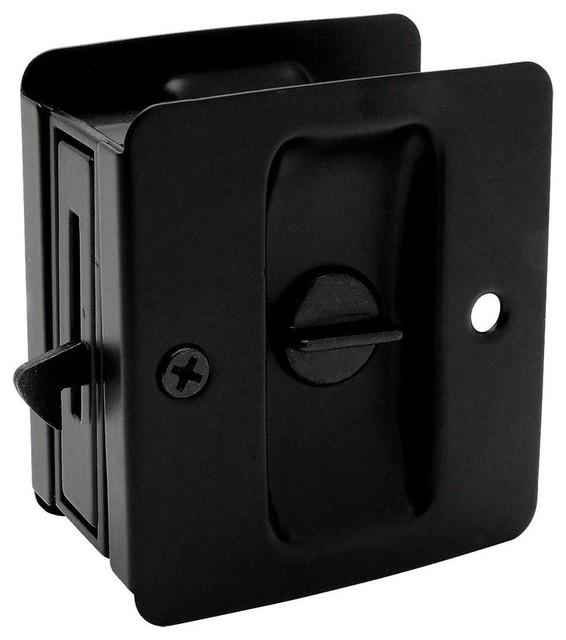 Matte Black Pocket Door Privacy Lock 53850