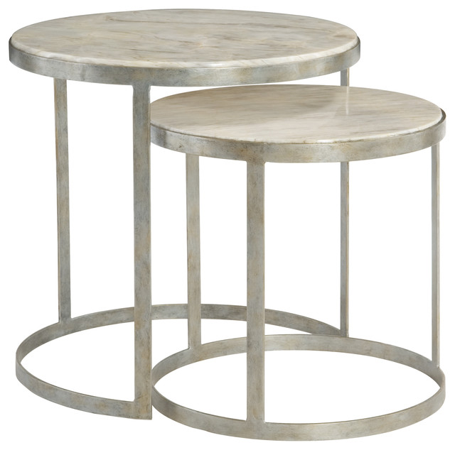 Kendri Regency Round Matte Silver Marble Nesting Tables, Pair  Transitional Side Tables