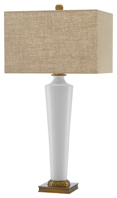 Vasilis Modern Regency White Ceramic Column Beige Linen Shade Table