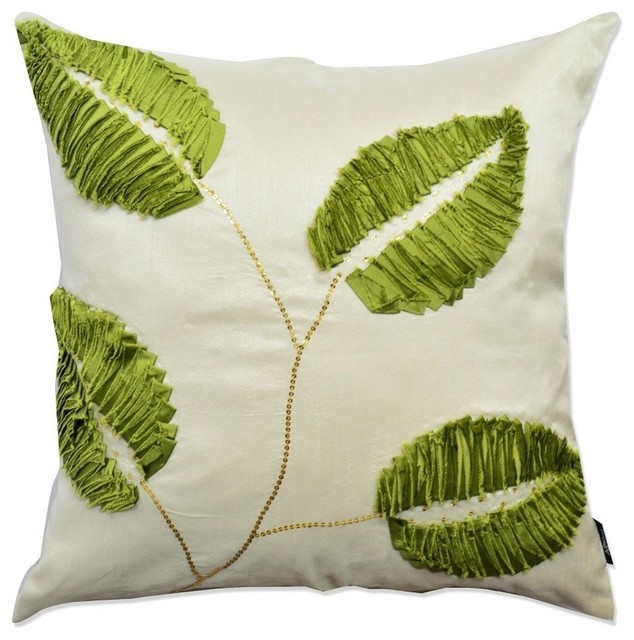 Green white leaf designer throw pillow contemporary for Green and white throw pillows