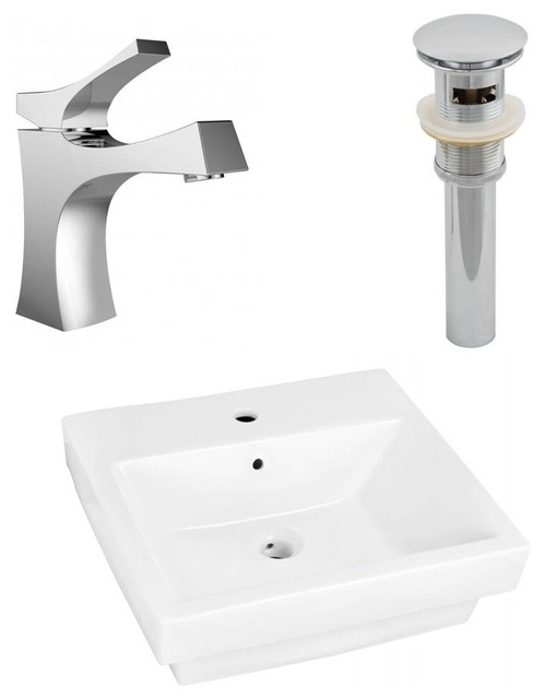 20.5 In. Semi Recessed Vessel Sink Set In White