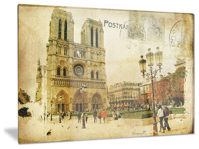 Notre dame cathedral vintage card contemporary glossy for Notre dame home decor