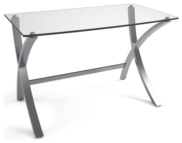 Villette Stainless Steel And Glass Desk.
