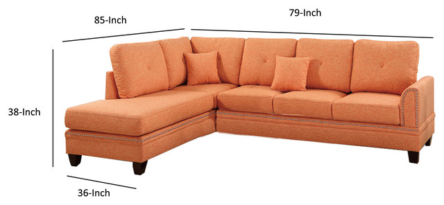 Cool Polyfiber 2 Piece Sectional Set With Nail Head Trims Orange Inzonedesignstudio Interior Chair Design Inzonedesignstudiocom
