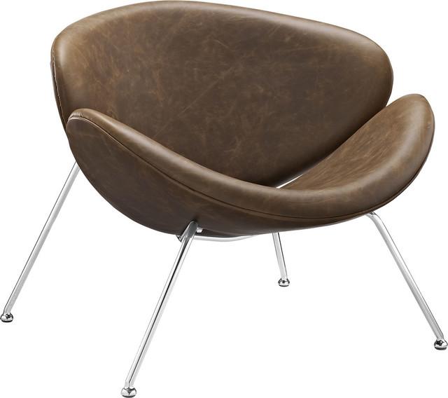 Josiah Upholstered Vinyl Lounge Chair, Brown by Evans & Londeen