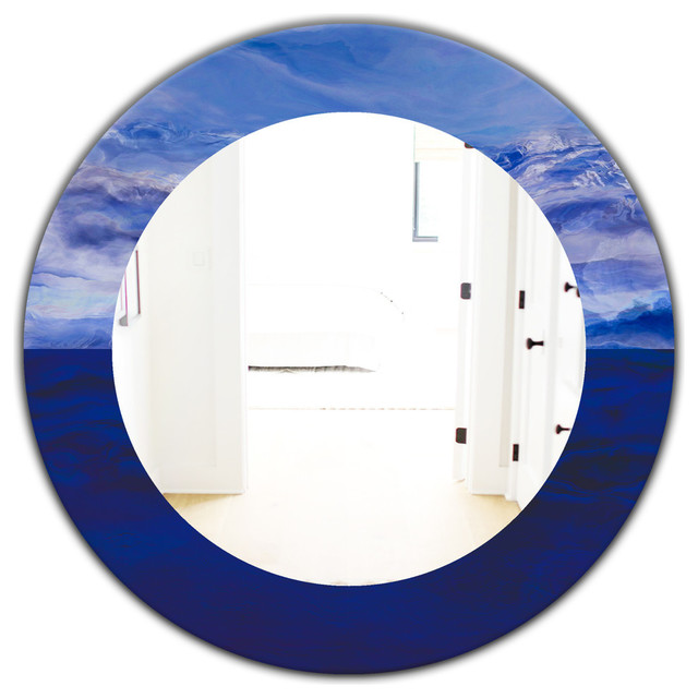 Designart Blue Vibe Traditional Frameless Oval Or Round Wall Mirror 32x32