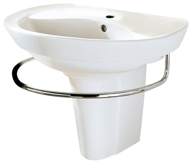 Ravenna Vitreous China Wall Mount Bathroom Sink With Single Faucet Hole In White Contemporary