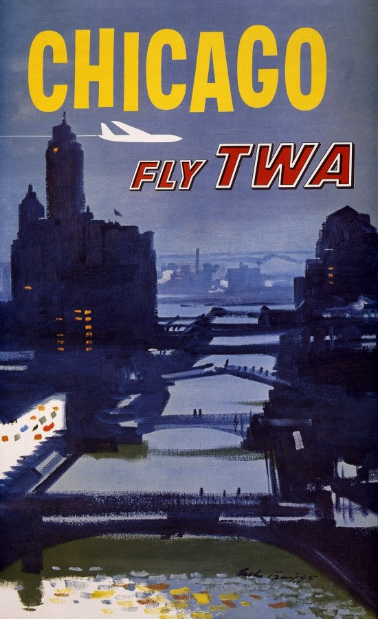 """24x36 Fly TWA"""" Vintage Style Airline Travel Poster 1960s """"Rome"""