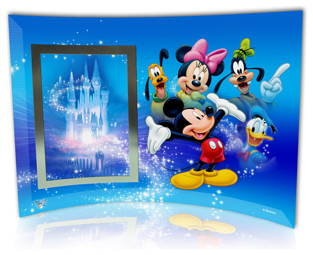 mickey mouse and friends starfire prints curved glass with photo frame modern kids room - Mickey Mouse Photo Frame