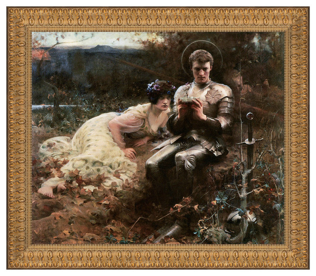 """""""Temptation of Sir Percival 1894"""" Stretched Canvas Replica, 49""""x42.5"""""""
