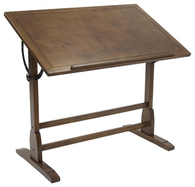 "Offex Elegant Distressed Vintage Drafting Table, Rustic Oak, 42""x30""."