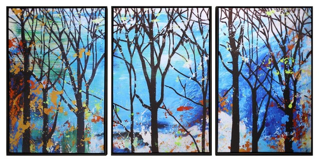 """Enchanted Forest"" Hand Painted Canvas Wall Art, 3-Piece Set"
