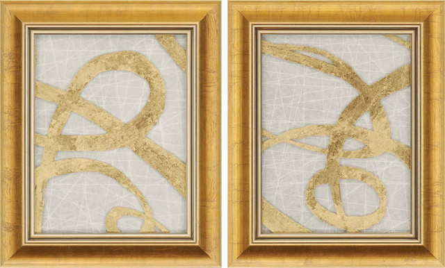 Paragon Abstract Contemporary Gold Luxe Pack Of 2 Wall Art.