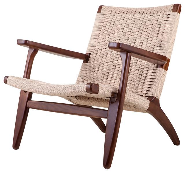 Duo Co Modern Scandinavian Beech Wood Chair Woven Rope