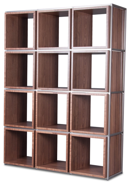 Grid I Walnut Shelving Unit Modern Display Amp Wall