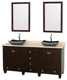 72 Acclaim Double Vanity Ivory Marble Countertop And Altair Black Gran
