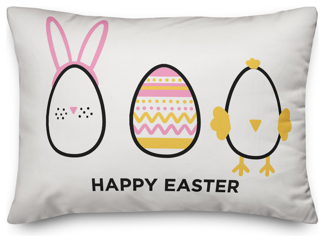 Happy Easter Eggs Pillow Contemporary Decorative Pillows By Designs Direct Houzz
