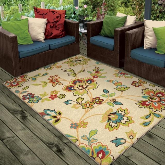 "Bright Dotted Veranda Indoor/outdoor Area Rug, White, 7&x27;8""x10&x27;10""."