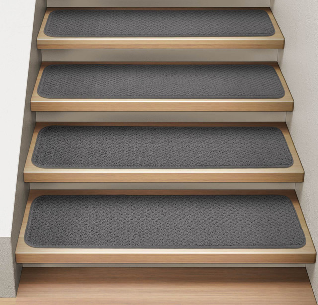 """Set Of 15 Attachable Carpet Stair Treads Gray, 8""""x23.5""""."""