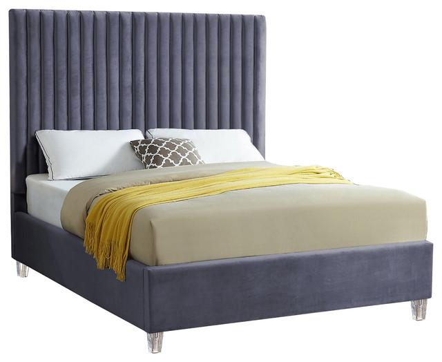 Candace Velvet Bed, Gray, Full