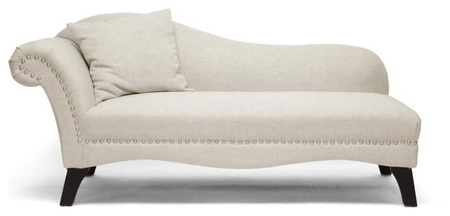Phoebe Beige Linen Modern Chaise Lounge - Midcentury - Indoor ...