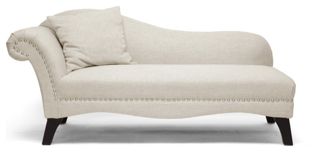 Baxton studio phoebe beige linen modern chaise lounge - Designer chaise lounge chairs ...