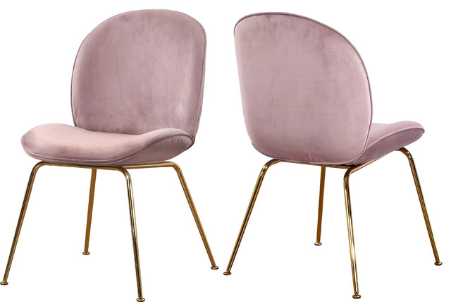 Paris Velvet Dining Chairs, Set of 2, Pink Velvet, Gold Base