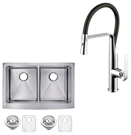 """Apron Front Stainless Steel 36"""" 60/40 Double Bowl Kitchen Sink And Faucet Set."""