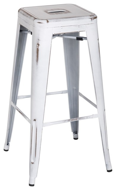 Metropolis Metal Backless Barstool Distressed White Set Of 8