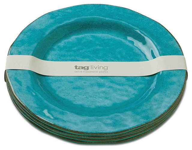 Veranda Melamine Dinner Plates, Set of 4 - Dinner Plates - by Quest Products, Inc