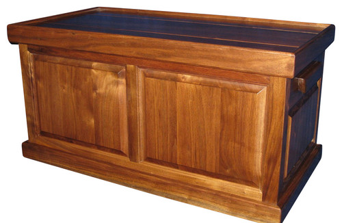 Raised Panel Flat Top Trunk, Walnut