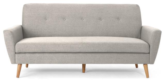 Doris Mid Century Fabric Couch, Beige.