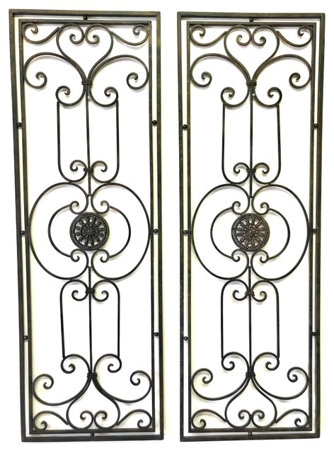 Abrianna Tuscan Large Scrolling Wrought Iron Wall Grille Set