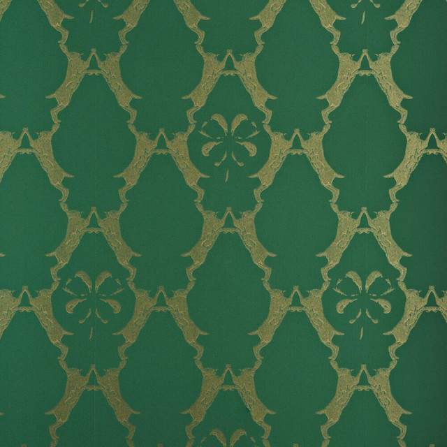 Boxing Hares Wallpaper, Billiard Green. -1