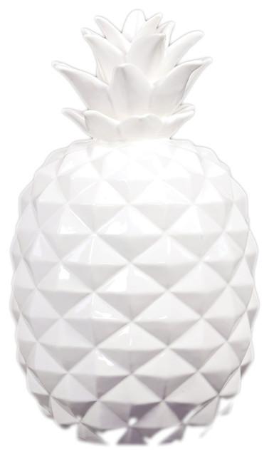 Urban Trends Collection Ceramic Pinele Figurine Large Gloss Finish White