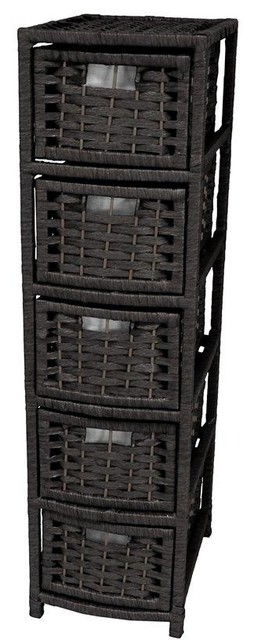"""40"""" Natural Fiber Occasional Chest Of Drawers, Black."""